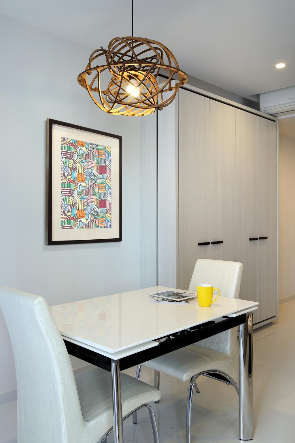 Contemporary, Condo, Dining Room, Austville Residences, Interior Designer, The Scientist, White Dining Table, White Dining Chair, Dining Chair, Hanging Lights, White Cabinet