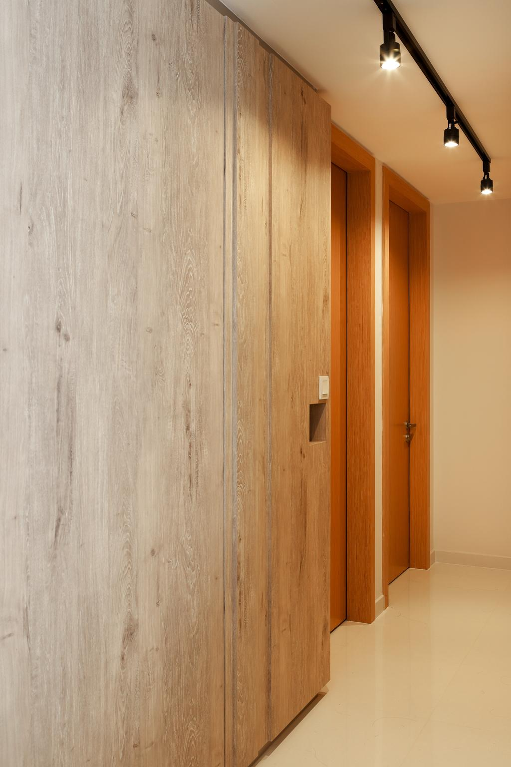 Contemporary, Condo, Austville Residences, Interior Designer, The Scientist, Black Track Lights, Wood Cabinet, Marble Floor