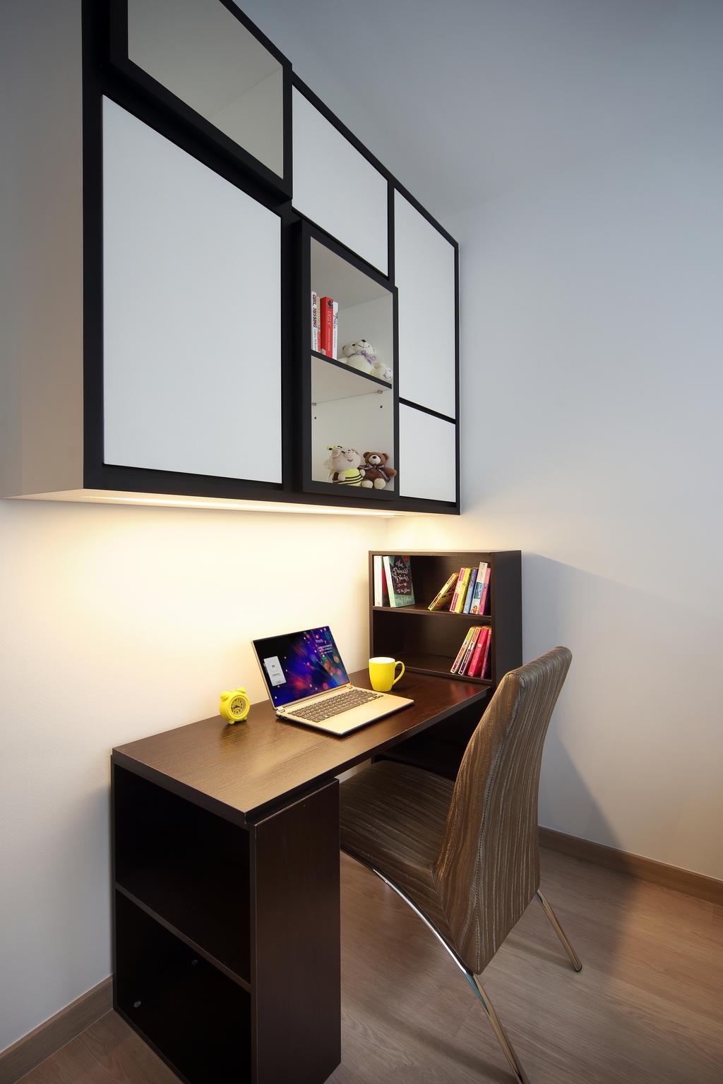 Contemporary, Condo, Study, Austville Residences, Interior Designer, The Scientist, Brown Desk, Dark Brown Desk, Study Cabinet, Bookcase, Furniture