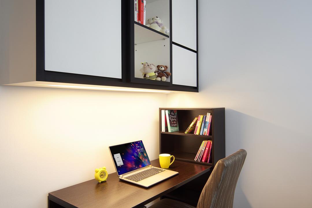 Austville Residences, The Scientist, Contemporary, Study, Condo, Brown Desk, Dark Brown Desk, Study Cabinet, Bookcase, Furniture