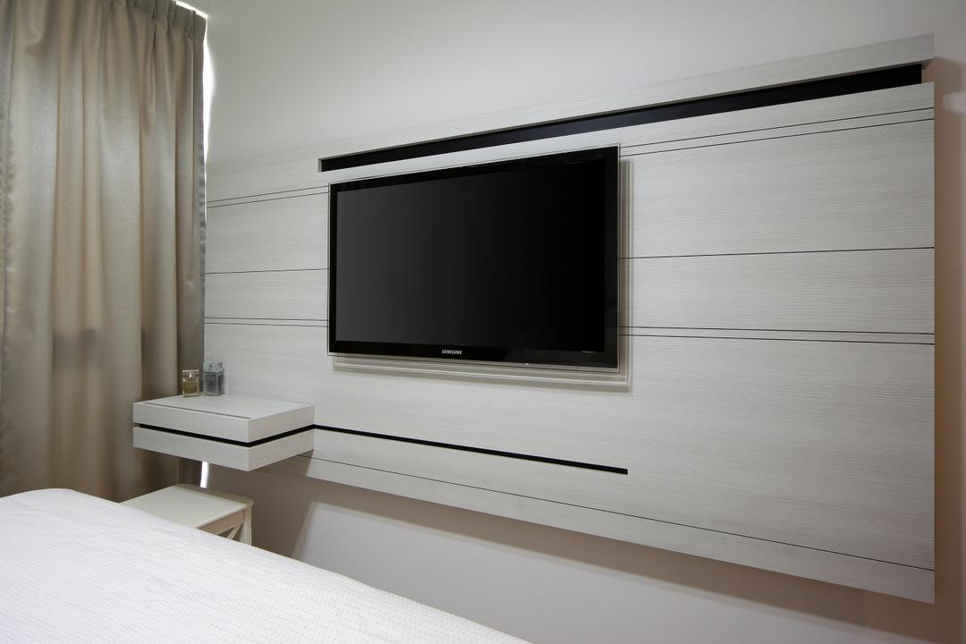 Austville Residences, The Scientist, Contemporary, Bedroom, Condo, Wood Feature Wall, Electronics, Entertainment Center