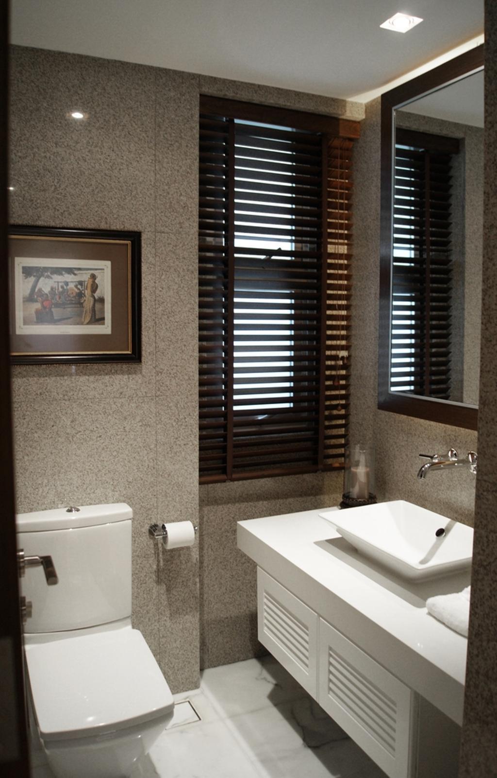 Transitional, Condo, Bathroom, The Levelz, Interior Designer, Metamorph Design, Blinds, Bathroom Tiles, Indoors, Interior Design, Room, Art, Painting