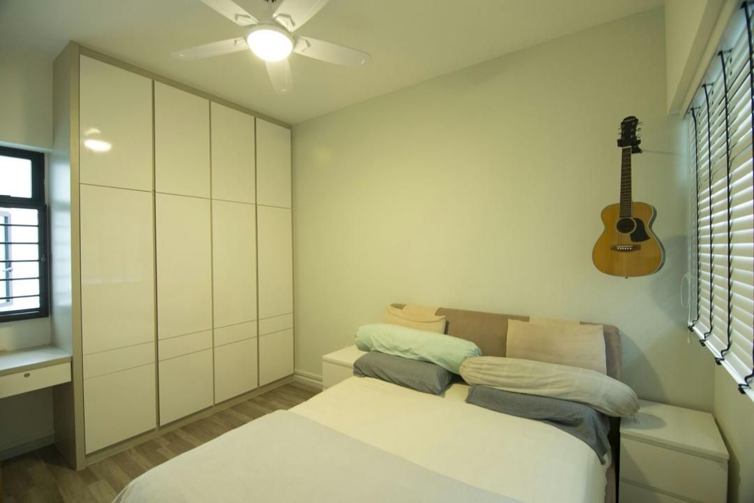 Boon Lay (Block 180C), ID Gallery Interior, Scandinavian, Bedroom, HDB, King Size Bed, Ceiling Fan With Light, Marble Cupbaord, Window Panels, Marble Wadrobe, Cozy, Roll Up Down Curtains, Bed, Furniture, Indoors, Interior Design, Room