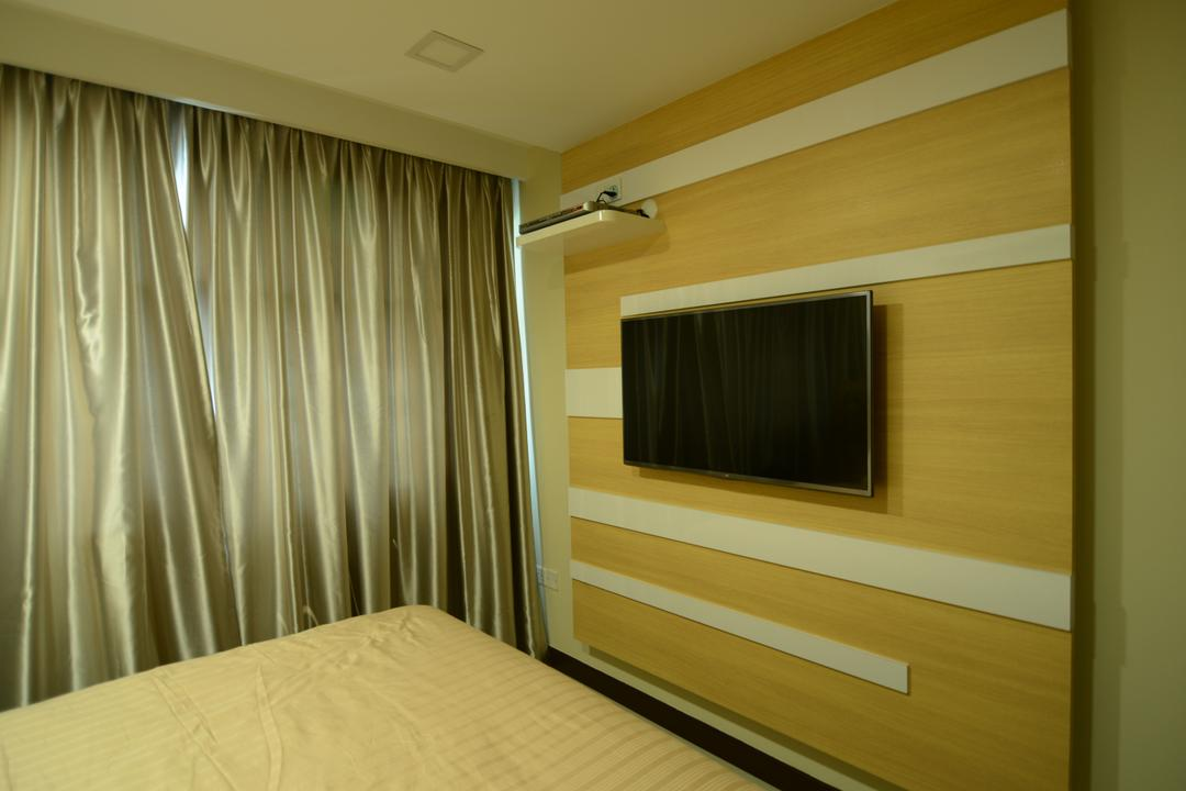 Fernvale Link, ID Gallery Interior, Modern, Bedroom, HDB, Wall Mounted Television, Curtains, Wooden Wall, Paterns, Wall Mounted Shelf, Wall Mounted Ledge, Sling Curtains, Appliance, Electrical Device, Microwave, Oven, Indoors, Interior Design, Plywood, Wood