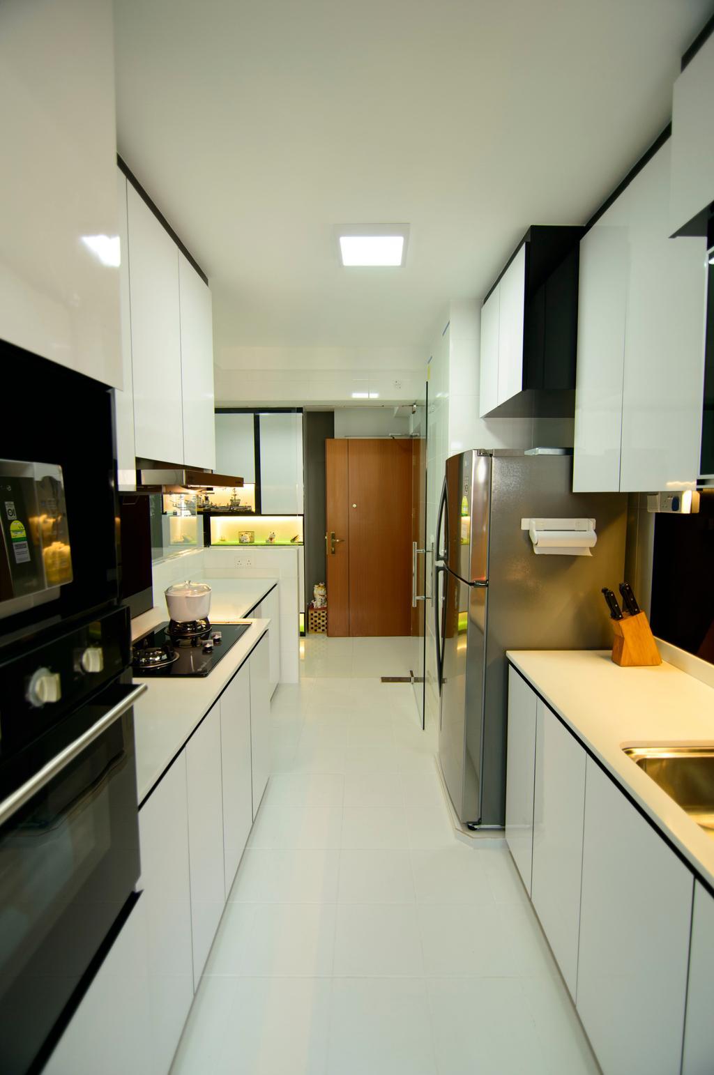 Modern, HDB, Kitchen, Fernvale Link, Interior Designer, ID Gallery Interior, Recessed Lights, Kitchen Cupboards