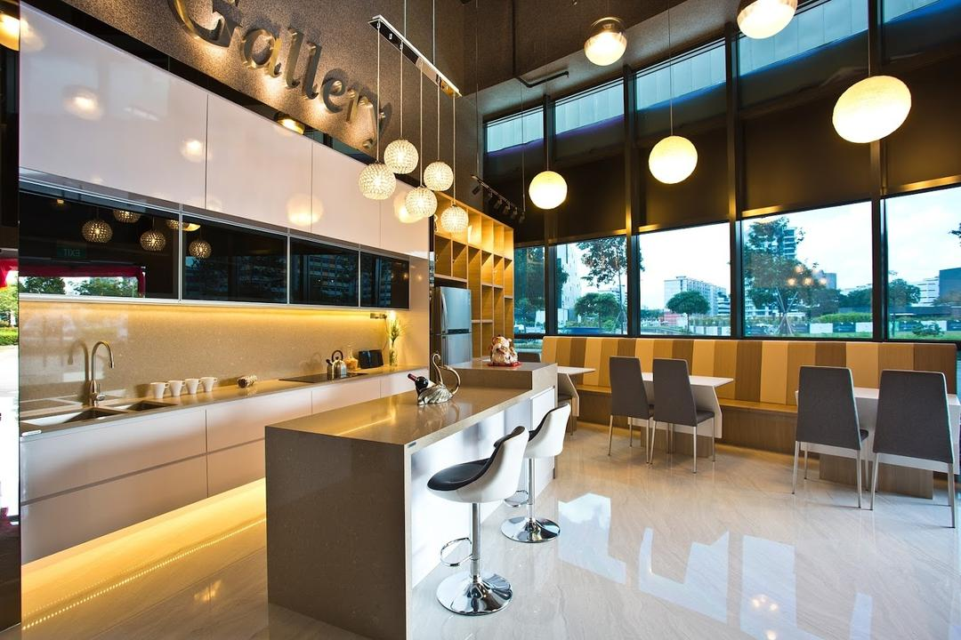 ID Gallery Showroom, ID Gallery Interior, Modern, Dining Room, Commercial, Marble Floor, Hanging Lights, Built In Marble Shelves, Lounge Chair, Dining Chairs, Window Panels, Spcious, Cosy, Round Pendant Lights, Cozy, Indoors, Room, Waiting Room