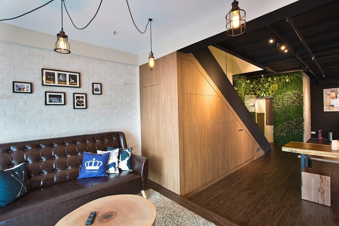ID Gallery Showroom, ID Gallery Interior, Modern, Living Room, Commercial, Hanging Lights, Leather Sofa, Mini Wooden Table, Wooden Floor, Ceramic Walls, Staircase, Cosy, Picture Frames, Indoors, Interior Design