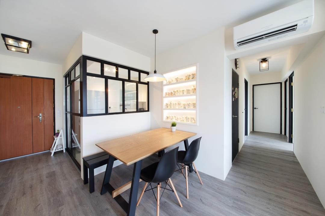 Ping Yi Greens, Dap Atelier, Scandinavian, Dining Room, HDB, Wooden Dining Table, Dining Chair, Air Condition, Wooden Floor, Glass Window, Hanging Light, Built In Shelves, Wooden Door, Pendant Lights, Dining Table, Furniture, Table, Chair, Indoors, Interior Design, Room, Flooring