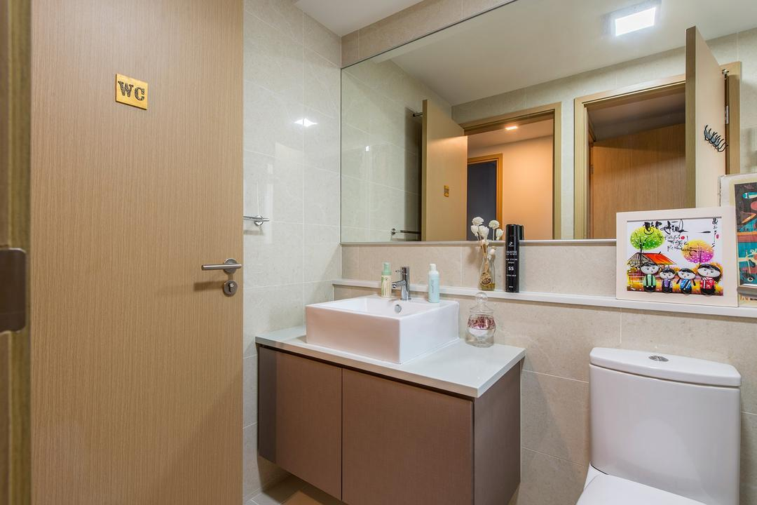 Twin Waterfalls, Ace Space Design, Modern, Bathroom, Condo, Toilet, Mirror, Wooden Door, Renderred Light, Wooden Toilet Cupboard, Marble Wall, Indoors, Interior Design, Room
