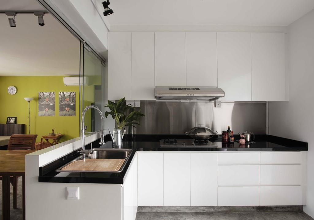 Eclectic, HDB, Kitchen, Clarence Lane, Interior Designer, The Design Practice, White, Counter, Monochrome, Wet Kitchen, Flora, Jar, Plant, Potted Plant, Pottery, Vase, Dining Table, Furniture, Table, Indoors, Interior Design, Room