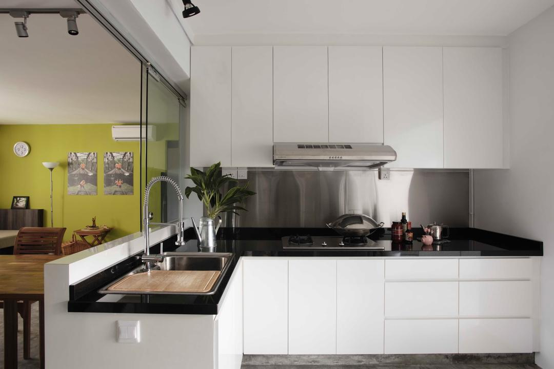 Clarence Lane, The Design Practice, Eclectic, Kitchen, HDB, White, Counter, Monochrome, Wet Kitchen, Flora, Jar, Plant, Potted Plant, Pottery, Vase, Dining Table, Furniture, Table, Indoors, Interior Design, Room