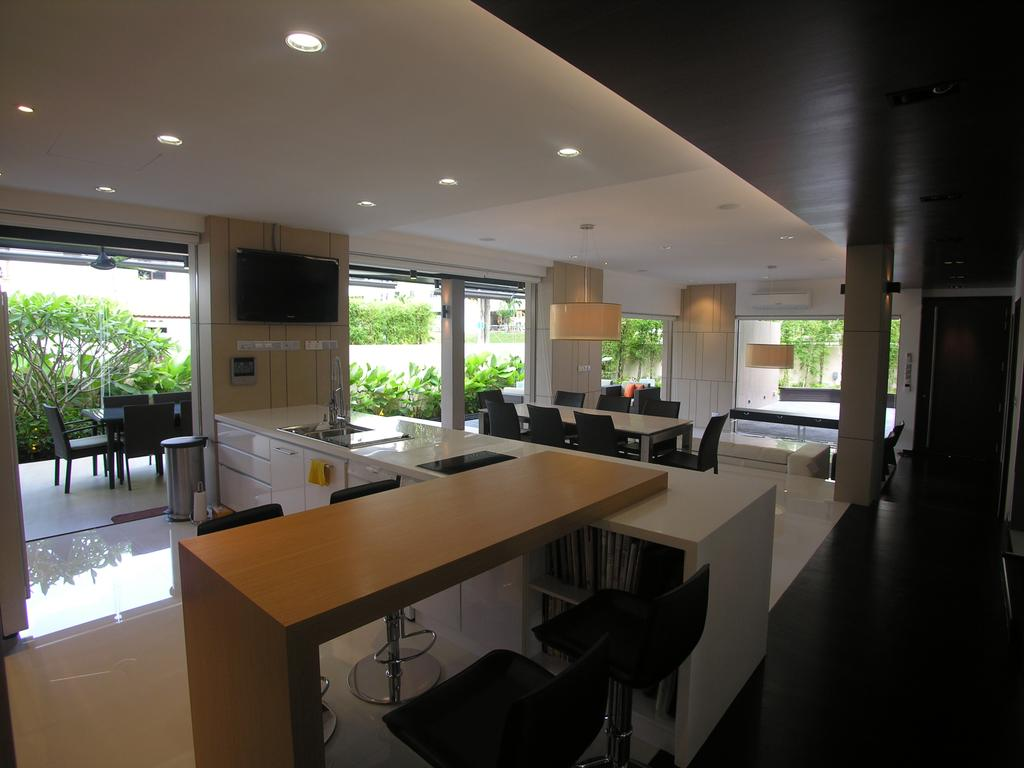 Contemporary, Landed, Kitchen, 29 Jalan Teliti, Architect, Lim Ai Tiong (LATO) Architects, Corridor, Flora, Jar, Plant, Potted Plant, Pottery, Vase, Dining Table, Furniture, Table