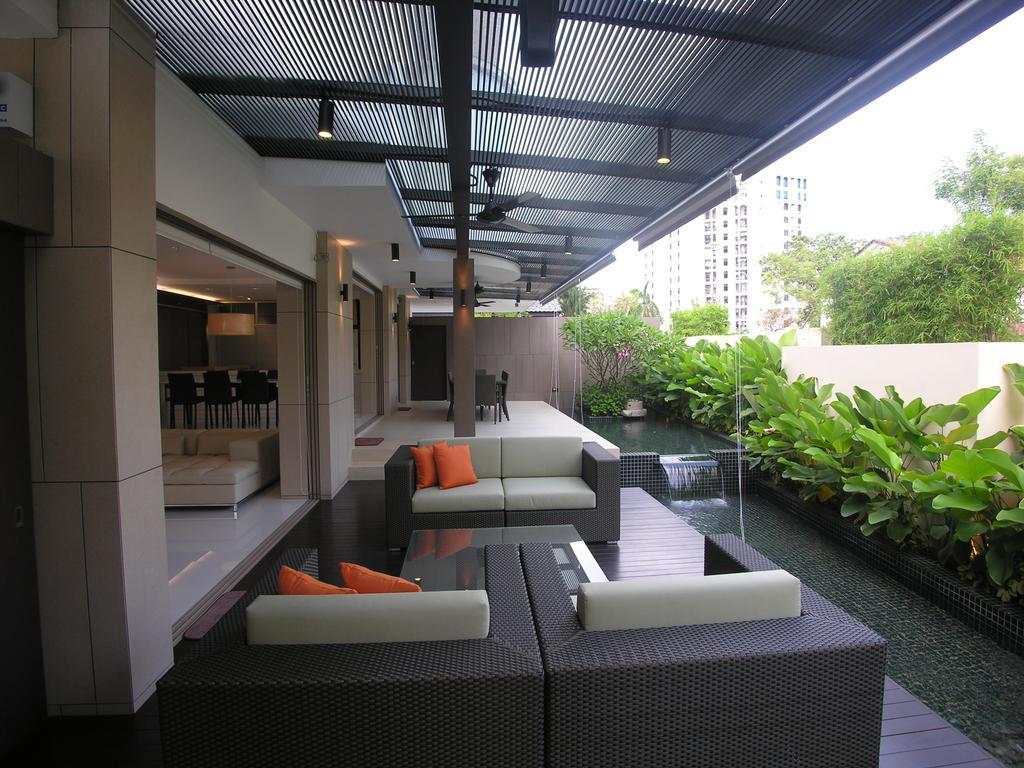 Contemporary, Landed, Balcony, 29 Jalan Teliti, Architect, Lim Ai Tiong (LATO) Architects, Couch, Furniture, Flora, Jar, Plant, Potted Plant, Pottery, Vase, Garden, Gardening, Outdoors, Backyard, Yard