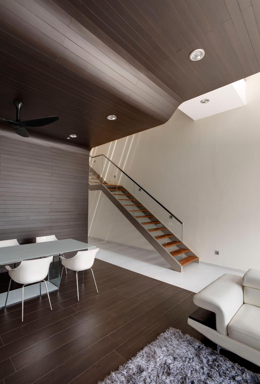 Contemporary, Landed, Living Room, 115 Ming Teck Park, Architect, Lim Ai Tiong (LATO) Architects, Banister, Handrail, Staircase