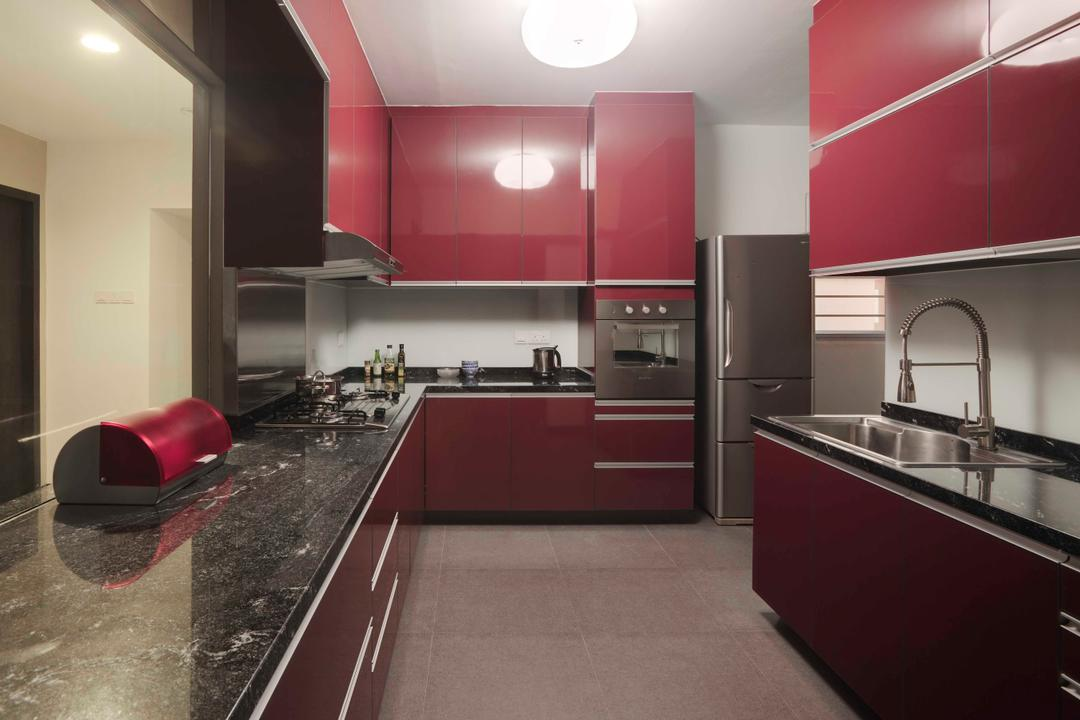 Hougang, The Design Practice, Contemporary, Kitchen, HDB, Tiles, Red, Kitchen Counter, Marble Counter, Kitchen Top, Chair, Furniture, Indoors, Room, Mailbox