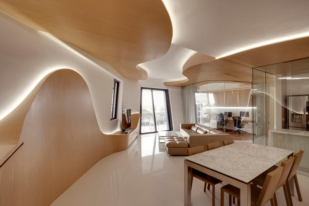 Contemporary, Condo, Dining Room, D'Leedon, Architect, Lim Ai Tiong (LATO) Architects, Dining Table, Furniture, Table, Indoors, Interior Design, Cardboard, Room