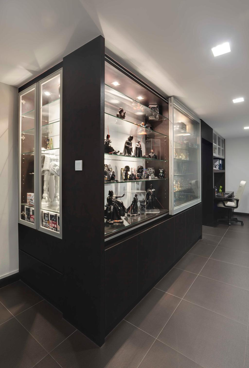 Contemporary, HDB, Living Room, Hougang, Interior Designer, The Design Practice, Display Unit, Display, Storage, Cabinet, Glass Cabinet, Collectibles, Showcase, Tile, Tiles, Grey, Monochrome, Neutral