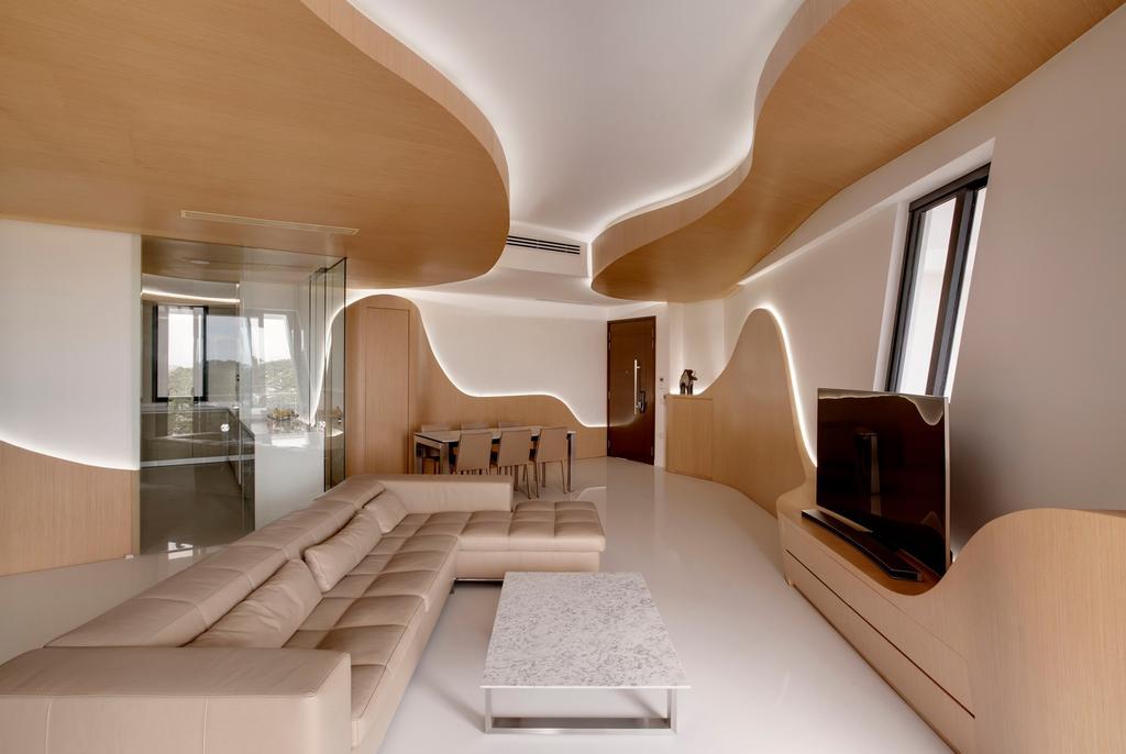 Contemporary, Condo, Living Room, D'Leedon, Architect, Lim Ai Tiong (LATO) Architects, Indoors, Interior Design, Bathroom, Room, Corridor