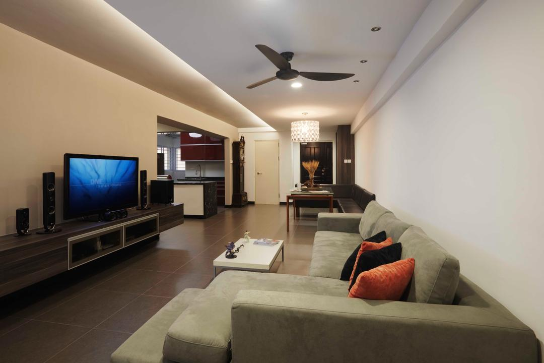 Hougang, The Design Practice, Contemporary, Living Room, HDB, Ceiling Fan, Hanging Lamp, Tv Console, Grey Sofa, Neutral Tones, Couch, Furniture, Indoors, Interior Design, Kitchen, Room