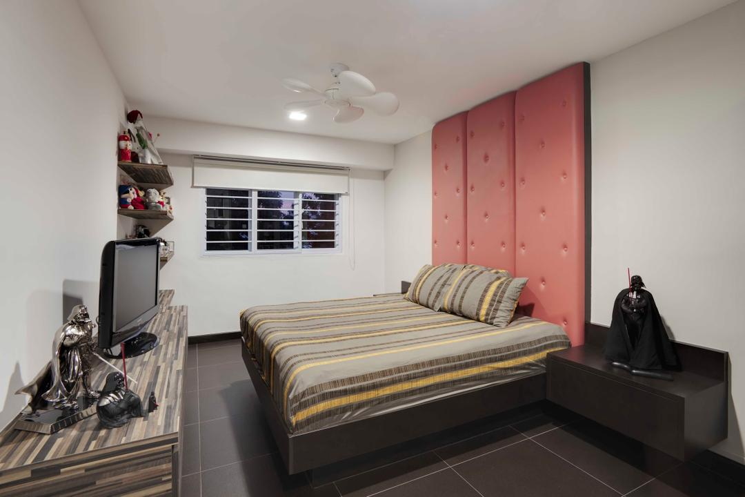 Hougang, The Design Practice, Contemporary, Bedroom, HDB, Headboard, Window Shutters, Ceiling Fan, Tv Console, Wood, Laminate, Bed, Furniture, Indoors, Interior Design, Room