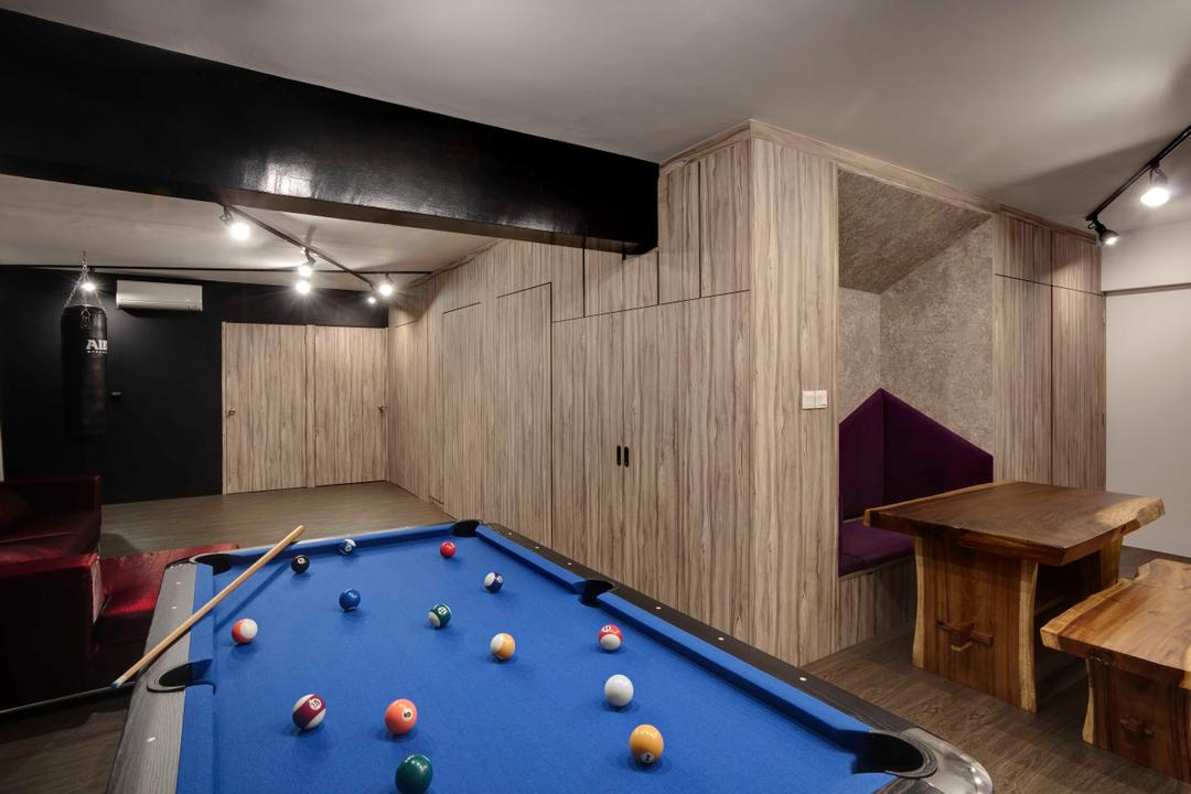 Fernvale, The Design Practice, Scandinavian, Living Room, HDB, Tv Console, Hidden Tv Console, Concealed, Wood Wardrobe, Wood, Laminate, Billiard Room, Furniture, Indoors, Pool Table, Room, Table, Plywood, Dining Table, Lighting, Bench