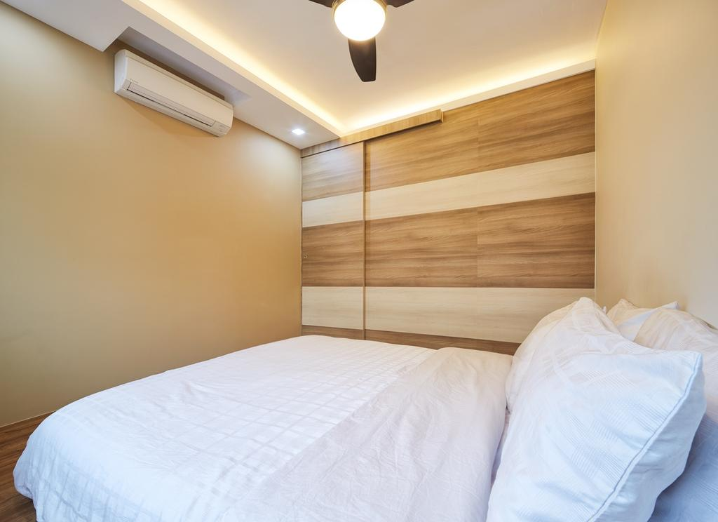 Modern, HDB, Bedroom, Tree Trail at Woodlands, Interior Designer, Absolook Interior Design, King Size Bed, Air Conditioning, Beige Walls, Cozy, Comfortable, Relax, Chill, Ceiling Fan With Light, Hidden Interior Light, Wooden Panel, Bed, Furniture