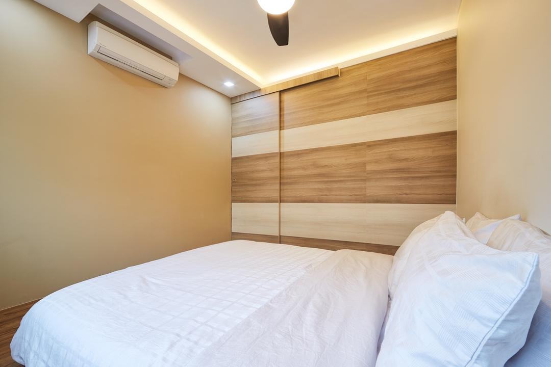 Tree Trail at Woodlands, Absolook Interior Design, Modern, Bedroom, HDB, King Size Bed, Air Conditioning, Beige Walls, Cozy, Comfortable, Relax, Chill, Ceiling Fan With Light, Hidden Interior Light, Wooden Panel, Bed, Furniture