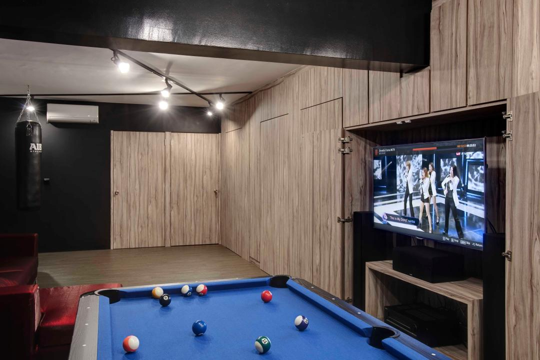 Fernvale, The Design Practice, Scandinavian, Living Room, HDB, Tv Console, Hidden Tv Console, Concealed, Wood Cupboard, Wooden Laminate, Billiard Room, Furniture, Indoors, Pool Table, Room, Table