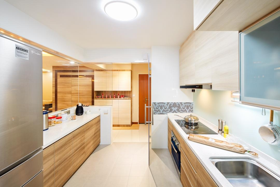 Tree Trail at Woodlands, Absolook Interior Design, Modern, Kitchen, HDB, Marble Floor, Ceiling Mounted Light, Refrigerator, Wooden Kitchen Cupboard, Wall Mounted Wooden Cupboard, Kitchen Basin, , Kitchen Stove, Indoors, Interior Design, White Board, Room, Furniture, Reception