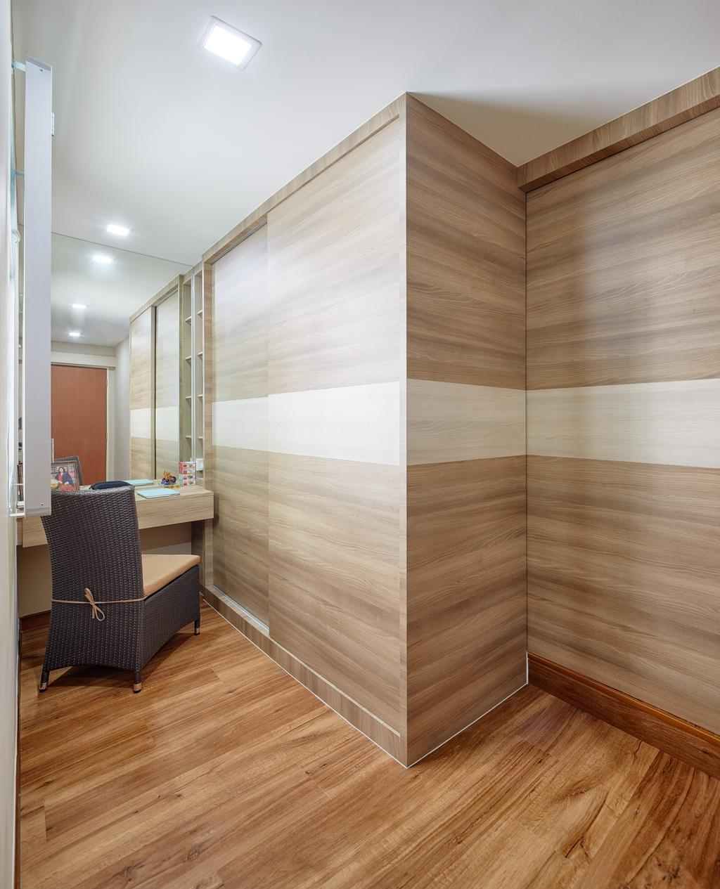 Modern, HDB, Bedroom, Tree Trail at Woodlands, Interior Designer, Absolook Interior Design, Wooden Floor, Wooden Wall, Recessed Lights, Mirror, Lounge Chair, Wall Mounted Wooden Table, Chair, Furniture, Plywood, Wood