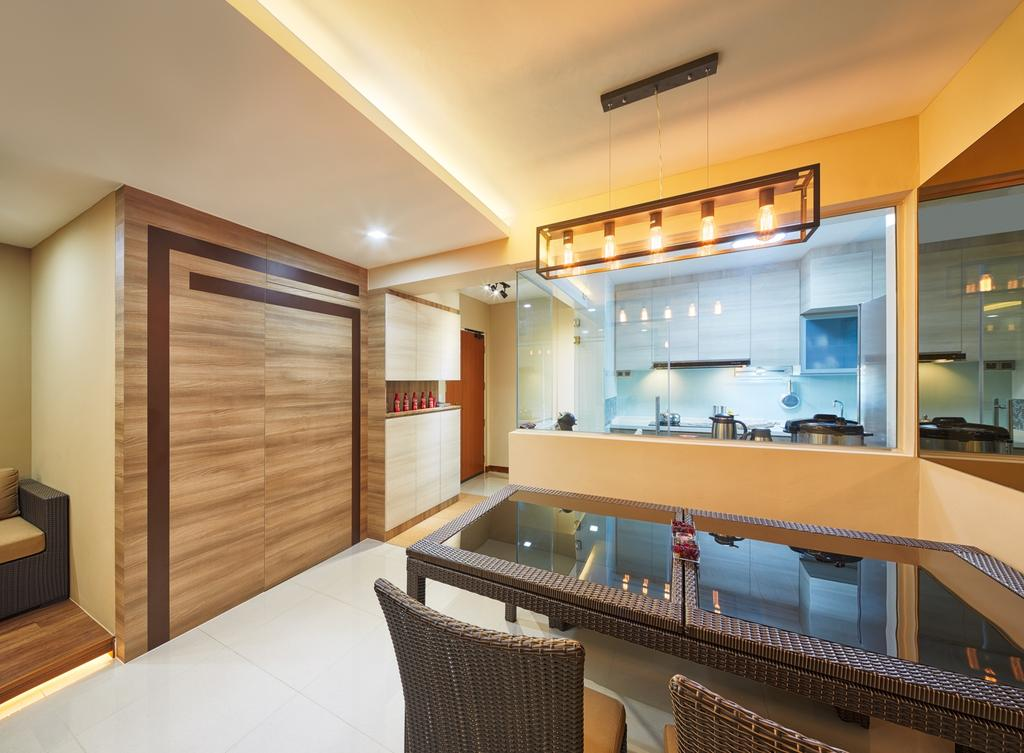 Modern, HDB, Dining Room, Tree Trail at Woodlands, Interior Designer, Absolook Interior Design, Marble Floor, Hanging Lights, Hidden Interior Lights, Wooden Wall, Beige Wall, Rattan Dining Chair, Rattan Dining Table, Glass Panels