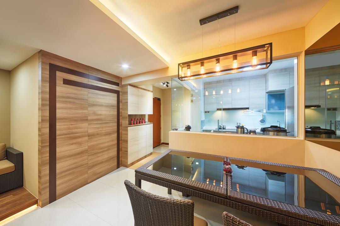 Tree Trail at Woodlands, Absolook Interior Design, Modern, Dining Room, HDB, Marble Floor, Hanging Lights, Hidden Interior Lights, Wooden Wall, Beige Wall, Rattan Dining Chair, Rattan Dining Table, Glass Panels