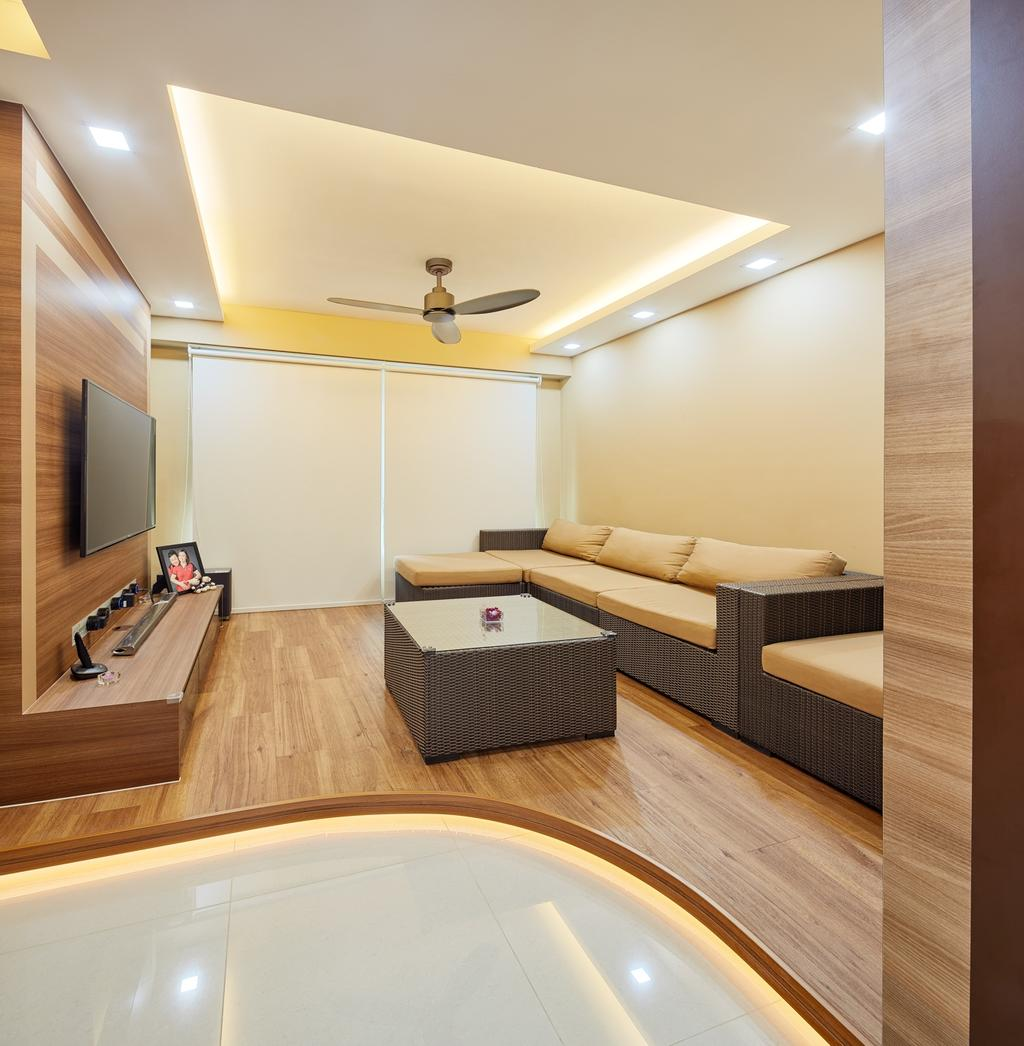 Modern, HDB, Living Room, Tree Trail at Woodlands, Interior Designer, Absolook Interior Design, Haiku Fan, Wooden Floor, Wall Mounted Television, , Recessed Lights, Beige Walls, Sectional Sofa, Wooden Panel, Television Console, Marble Floor, Cozy, Roll Down Curtain