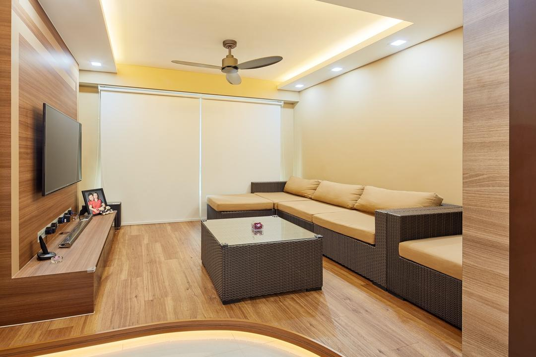Tree Trail at Woodlands, Absolook Interior Design, Modern, Living Room, HDB, Haiku Fan, Wooden Floor, Wall Mounted Television, , Recessed Lights, Beige Walls, Sectional Sofa, Wooden Panel, Television Console, Marble Floor, Cozy, Roll Down Curtain