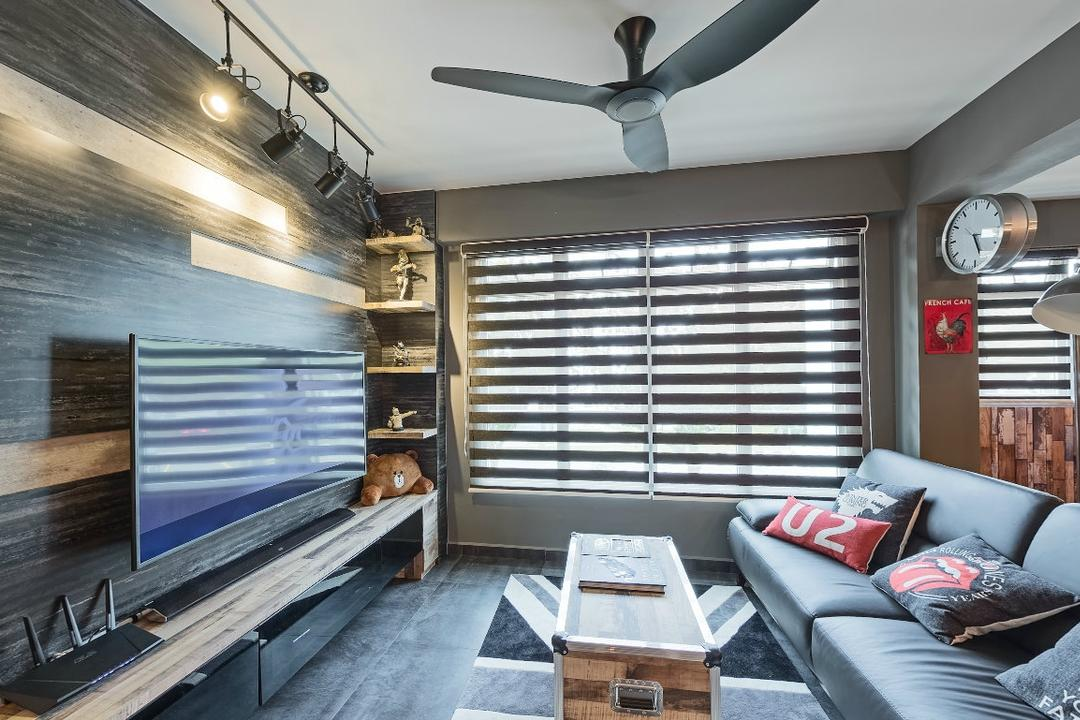 Ping Yi Greens, Absolook Interior Design, Industrial, Scandinavian, Living Room, HDB, Spin Fan, Marble Wall, Wall Mounted Television, Roll Down Curtains, Sofa, Living Room Table, Wall Attached Clock, Standing Lamp, , Wall Mounted Shelves, Floating Console, Cozy, Wooden Floor, Couch, Furniture