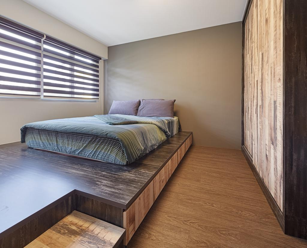 Industrial, HDB, Bedroom, Ping Yi Greens, Interior Designer, Absolook Interior Design, Scandinavian, Indoors, Interior Design, Room, Bed, Furniture