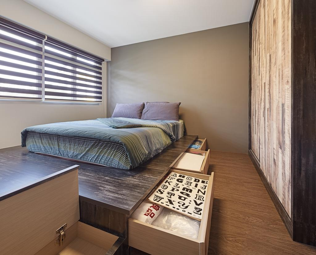 Industrial, HDB, Bedroom, Ping Yi Greens, Interior Designer, Absolook Interior Design, Scandinavian, Wooden Floor, Wooden Wadrobe, King Size Bed, Elevated Level, Roll Down Curtains, Floor Mounted Drawer, Spacious, Cozy, Relax, Comfortable, Chill, Bed, Furniture