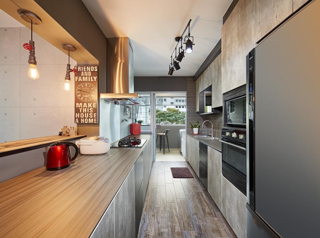 Industrial, HDB, Kitchen, Ping Yi Greens, Interior Designer, Absolook Interior Design, Scandinavian, Flooring, Balcony