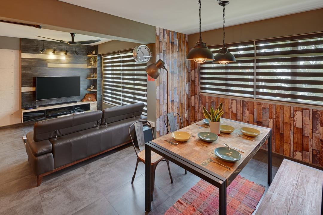 Ping Yi Greens, Absolook Interior Design, Industrial, Scandinavian, Dining Room, HDB, Hanging Lamps, Pendant Lamps, Wooden Dining Table, Wooden Dining Bench, Roll Down Curtain, Wooden Wall, Artistic Patterns, Couch, Furniture, Chair, Dining Table, Table, Electronics, Entertainment Center, Indoors, Interior Design, Room
