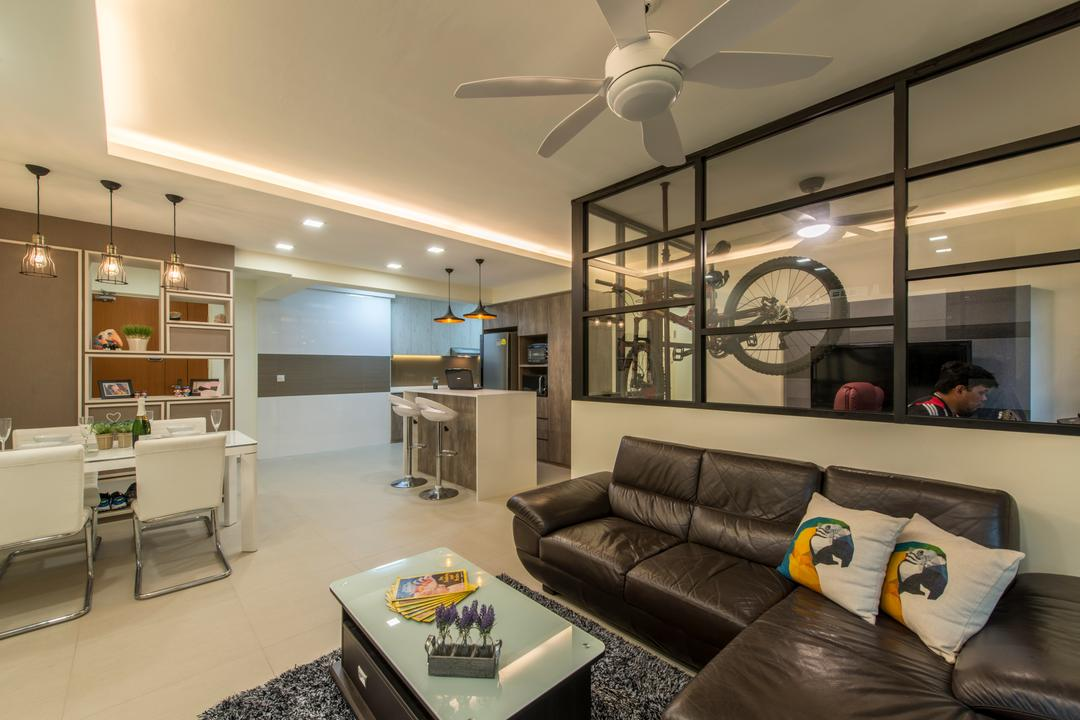 Compassvale Boardwalk, Posh Living Interior Design, Modern, Living Room, HDB, Ceiling Fan, Layout, Dining, Kitchen Peninsula, Couch, Furniture