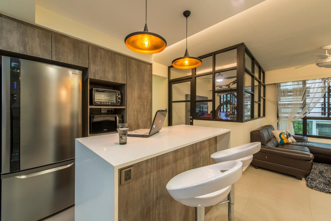 Compassvale Boardwalk, Posh Living Interior Design, Modern, Kitchen, HDB, Kitchen Peninsula, Pendant Lighting, High Stool, Glass Room, Laminated Wood, Couch, Furniture, Indoors, Interior Design, Appliance, Electrical Device, Microwave, Oven