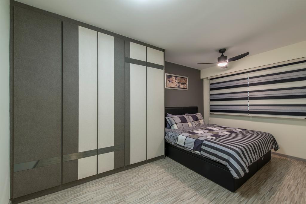 Modern, HDB, Bedroom, Compassvale Boardwalk, Interior Designer, Posh Living Interior Design, Built In Wardrobe, Grey Wall, Ceiling Fan, Blinds, Grey, Bed, Furniture, Indoors, Interior Design, Room, Door, Sliding Door, Home Decor, Quilt