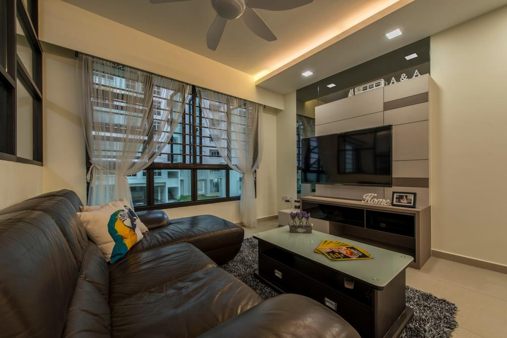 Modern, HDB, Living Room, Compassvale Boardwalk, Interior Designer, Posh Living Interior Design, Wall Mounted Tv, Curtain, Tv Feature Wall, Sling Curtain, Couch, Furniture, Appliance, Electrical Device, Oven, Building, Housing, Indoors