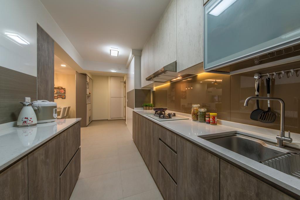 Modern, HDB, Kitchen, Compassvale Boardwalk, Interior Designer, Posh Living Interior Design, Glass Panel, Sink, Indoors, Interior Design, Room