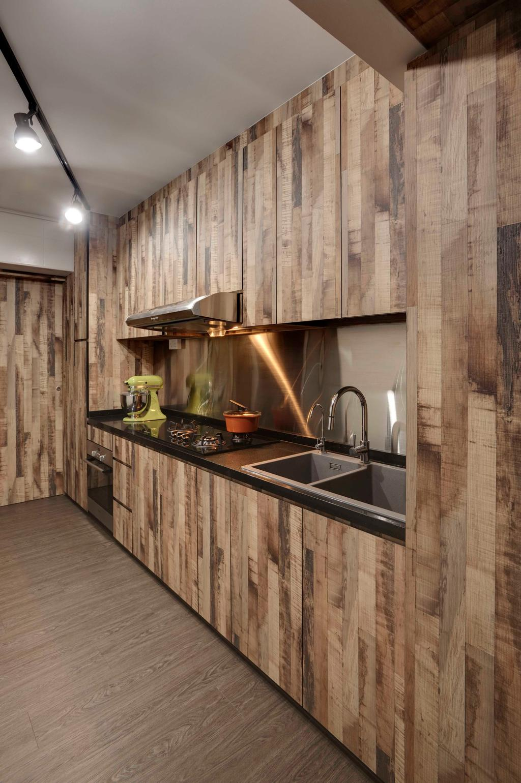 Scandinavian, HDB, Fernvale, Interior Designer, The Design Practice, Parquet, Wood Laminate, Wood Acccent, Sink, Mixer