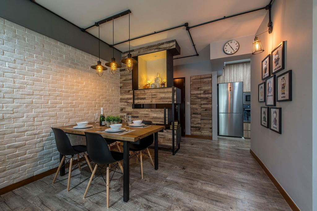 Industrial, HDB, Dining Room, Waterway Brooks, Interior Designer, Posh Living Interior Design, Dining Table, Furniture, Table, Chair, Indoors, Interior Design, Room, Fireplace, Hearth, Patio