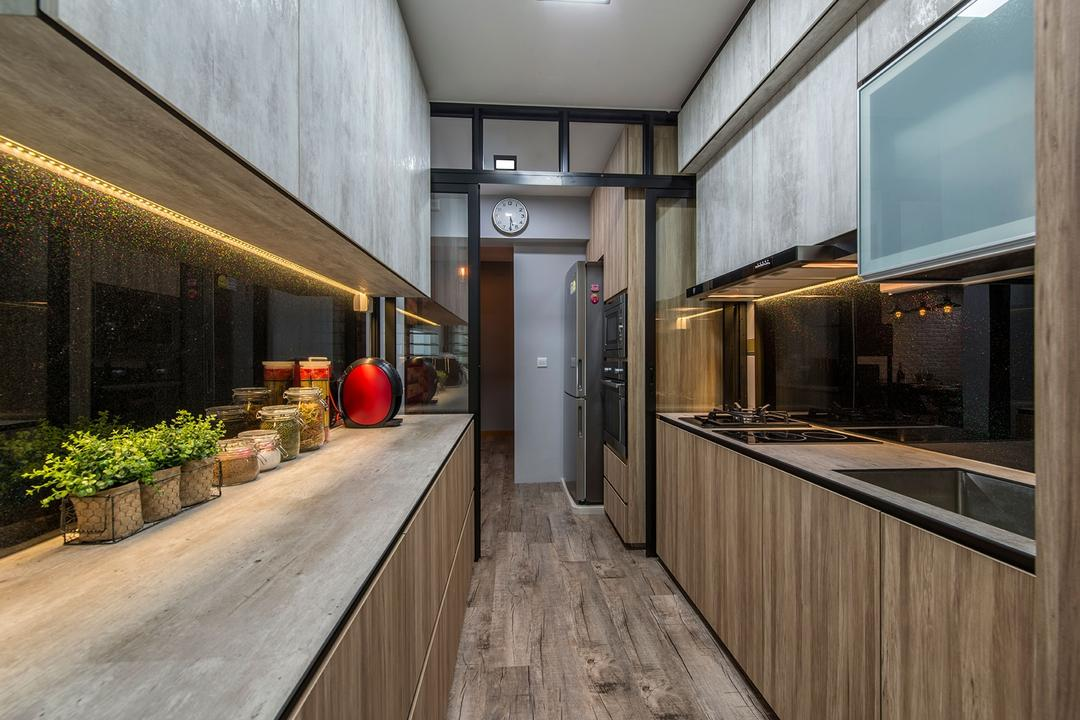 Waterway Brooks, Posh Living Interior Design, Industrial, Kitchen, HDB, Texture, Modern Wood, Wooden Cupboard, Counter, Decoration, Black Glass, Wooden Floor, Flora, Jar, Plant, Planter, Potted Plant, Pottery, Vase