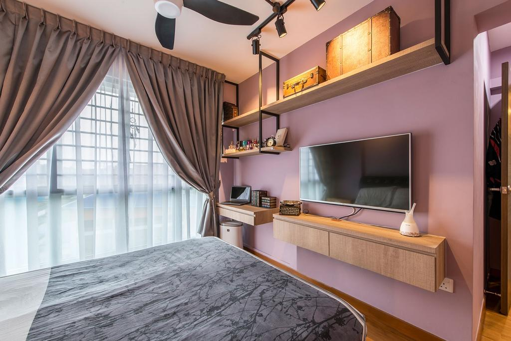 Industrial, HDB, Bedroom, Waterway Brooks, Interior Designer, Posh Living Interior Design, Pink Wall, Storage, Wall Shelves, Wall Cabinet, Ceiling Fan, Track Light, Wooden Boxes, Curtain, Wall Mounted Tv