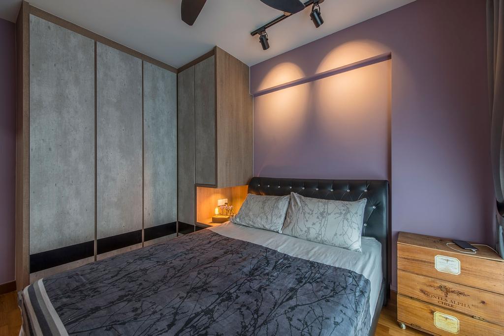 Industrial, HDB, Bedroom, Waterway Brooks, Interior Designer, Posh Living Interior Design, Purple Wall, Wooden Drawer, Built In Wardrobe, Bed, Furniture, Indoors, Interior Design, Room