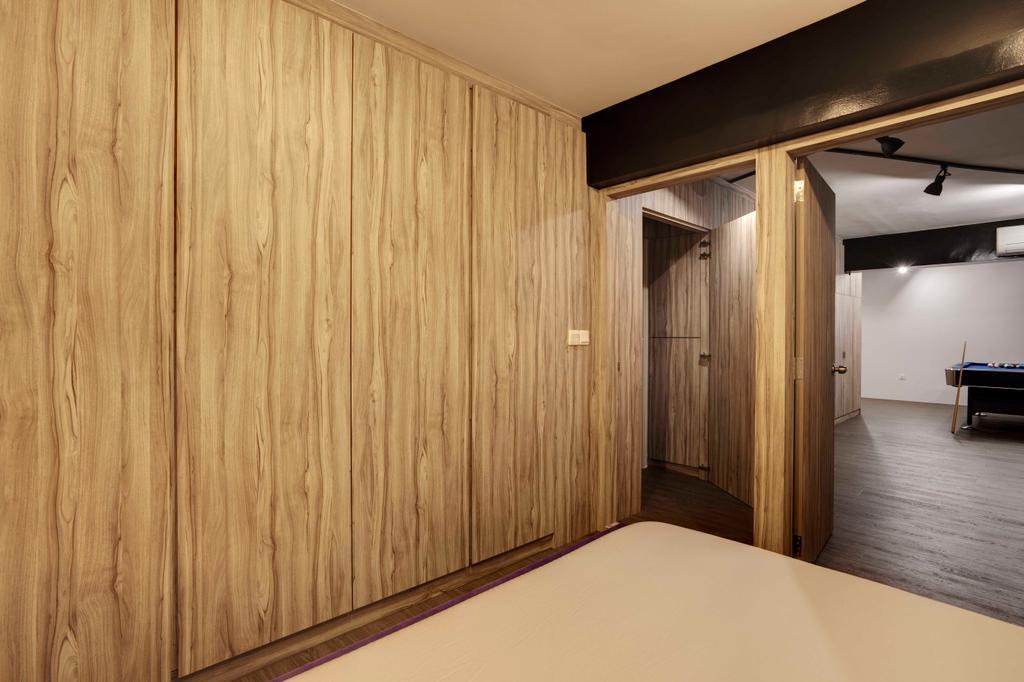 Scandinavian, HDB, Fernvale, Interior Designer, The Design Practice, Woody, Wood, Laminate, Revolving Door, Wooden Door, Indoors, Interior Design